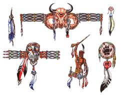 colorful Native American tribal Tattoo Drawings