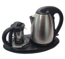 Tea Maker Set - Dual Electric Kettles Stainless Steel & Glass with Keep Tea Warm Tray