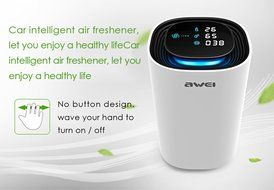 GearBest Awei Smart Portable Hepa Filter Air Purifier Cleaner Car Motion Sensor with Dust Detector For Home (White) N3