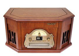 Boytone BT-25MB 8-in-1 Natural Wood Classic Turntable Stereo System with Bluetooth Connection, Vinyl Record Player...