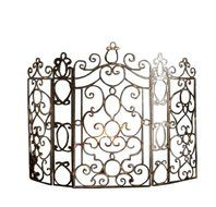French Quarter Ornate Iron Scroll Fireplace Screen N2