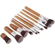ShungHO 11pcs Bamboo Handle Cosmetic Makeup Brush Set Perfect for Use as Concealer Brush, Contour Brush, Cosmetic...