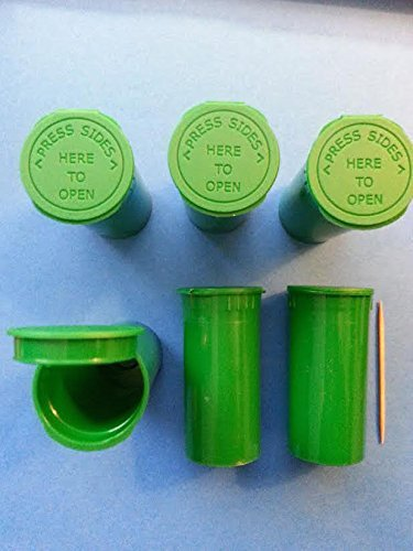 10 Pack of Green 13 Dram Pop Top Bottle Rx Vial Medical Herb Pill Box Container