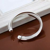 New Women 925 Silver Plated Solid Twist Cuff Bangle Bracelets Fashion Jewelry N2