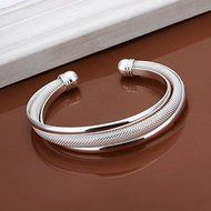 New Women 925 Silver Plated Solid Twist Cuff Bangle Bracelets Fashion Jewelry N3