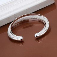New Women 925 Silver Plated Solid Twist Cuff Bangle Bracelets Fashion Jewelry N4