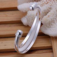 New Women 925 Silver Plated Solid Twist Cuff Bangle Bracelets Fashion Jewelry N5