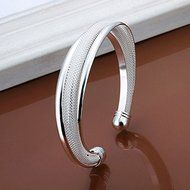 New Women 925 Silver Plated Solid Twist Cuff Bangle Bracelets Fashion Jewelry N6