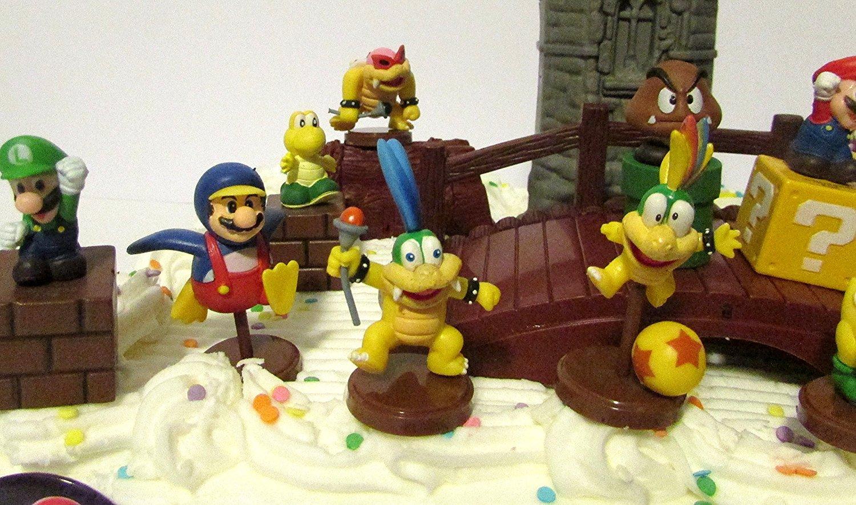 Super Mario Brothers 25 Piece Deluxe Game Scene Birthday Cake Topper Set Featuring Princess Peach Luigi
