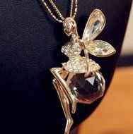 Fashion Lady Gold Plated Opal Crystal Angel Wing Sweater Chain Pendant Necklace