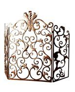 Ornate Gold Acanthus Scroll Iron Fireplace Screen N2