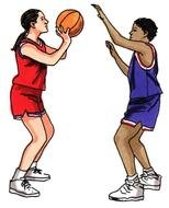 girls play basketball as a graphic illustration