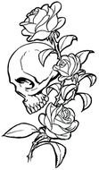Black and white drawing with the flowers and skull clipart