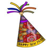 Happy New Year colorful party hat clipart