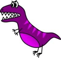 cartoon purple dinosaur with sharp teeth