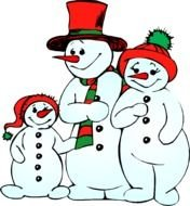 family of funny snowmen as a graphic illustration