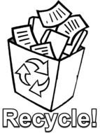 Black and white drawing of Recycle! clipart