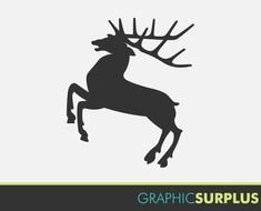 graphic black silhouette of a deer