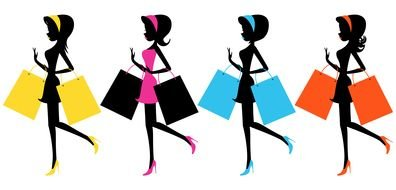girls after shopping as a graphic illustration