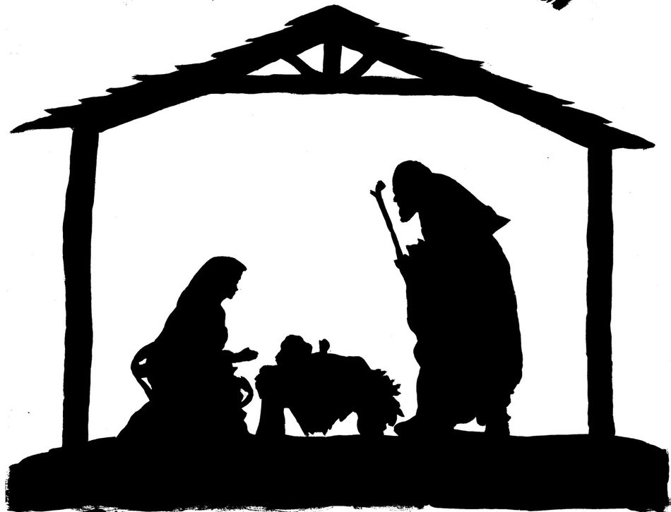 Silhouette of Nativity clipart