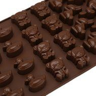 JLHua 3 PCS Candy Molds & Ice Cube Trays- Duck Bear Rabbit-Silicone Chocolate Molds - Fun, Toy Kids Set