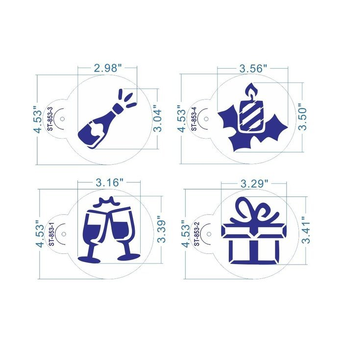 ART Kitchenware 8pcs Christmas Cookie Stencil Set Cupcake Decoration Plastic Stencils for Cake (Gift Box,Bell,...