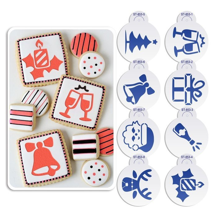 ART Kitchenware 8pcs Christmas Cookie Stencil Set Cupcake Decoration Plastic Stencils for Cake (Gift Box,Bell,... N2