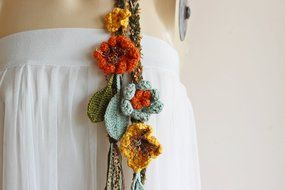 Green Crochet Scarf-Lariat Necklace Scarf- Olive Green ,Mustard,Orange Scarf-Flowers and Leaves Scarf-Hippie Scarf