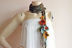Green Crochet Scarf-Lariat Necklace Scarf- Olive Green ,Mustard,Orange Scarf-Flowers and Leaves Scarf-Hippie Scarf N3