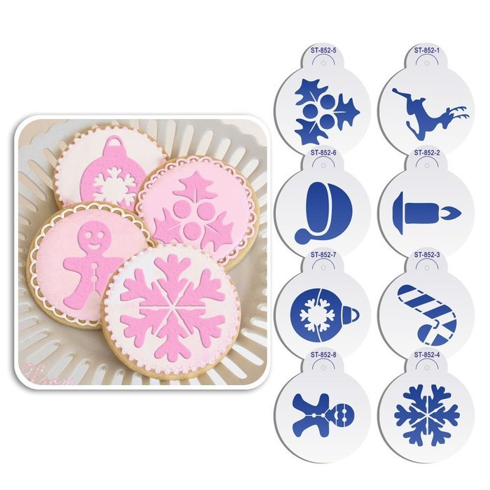 ART Kitchenware 8pcs Christmas Cookie Stencil Set Icing Royal Stencil Tool Deer,Candle,Snowflake,Hat,Crutch Stencils...