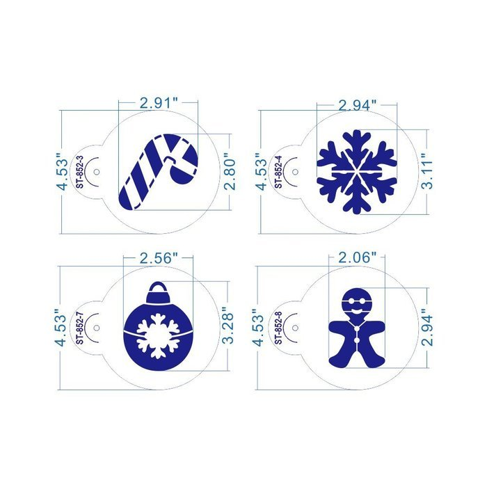 ART Kitchenware 8pcs Christmas Cookie Stencil Set Icing Royal Stencil Tool Deer,Candle,Snowflake,Hat,Crutch Stencils... N2