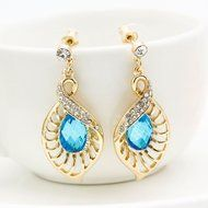 Elegant Hollow Leaf Blue Crystal Jewelry Sets Sapphire Teardrop Nacklace Earring
