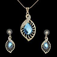 Elegant Hollow Leaf Blue Crystal Jewelry Sets Sapphire Teardrop Nacklace Earring N2