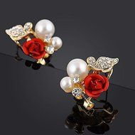 Red Rose Floral & Imitation Pearl Stud Earrings 18KT Gold Plated Crystal Jewelry