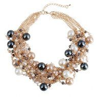 WellieSTR Elegant Faux Pearl Crystal Cluster Collar Chunky Bib Necklace Gold Tone For Women - clothing accessories N2