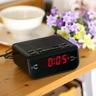 SyGyn(TM) Compact Digital Alarm Clock FM Radio with Dual Alarm Buzzer Snooze Sleep Function Red LED Time Display