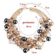 WellieSTR Elegant Faux Pearl Crystal Cluster Collar Chunky Bib Necklace Gold Tone For Women - clothing accessories N4