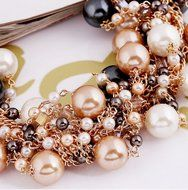WellieSTR Elegant Faux Pearl Crystal Cluster Collar Chunky Bib Necklace Gold Tone For Women - clothing accessories N5
