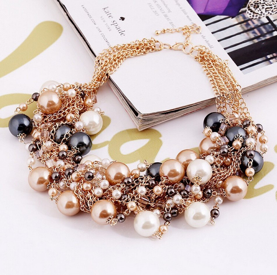 WellieSTR Elegant Faux Pearl Crystal Cluster Collar Chunky Bib Necklace Gold Tone For Women - clothing accessories N3