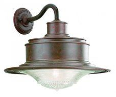 Troy Lighting South Street 14.25H 1-Light Outdoor Wall Lantern - Old Rust Finish with Antique Pressed Prismatic...