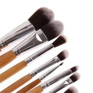 ShungHO 11pcs Bamboo Handle Cosmetic Makeup Brush Set Perfect for Use as Concealer Brush, Contour Brush, Cosmetic... N4