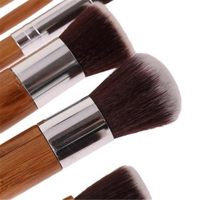 ShungHO 11pcs Bamboo Handle Cosmetic Makeup Brush Set Perfect for Use as Concealer Brush, Contour Brush, Cosmetic... N6