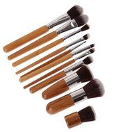 ShungHO 11pcs Bamboo Handle Cosmetic Makeup Brush Set Perfect for Use as Concealer Brush, Contour Brush, Cosmetic... N7