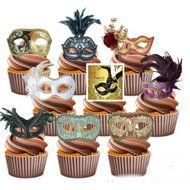 Masquerade Ball Party Pack 36 Edible Stand Up Cup Cake Toppers Vintage Eye Masks