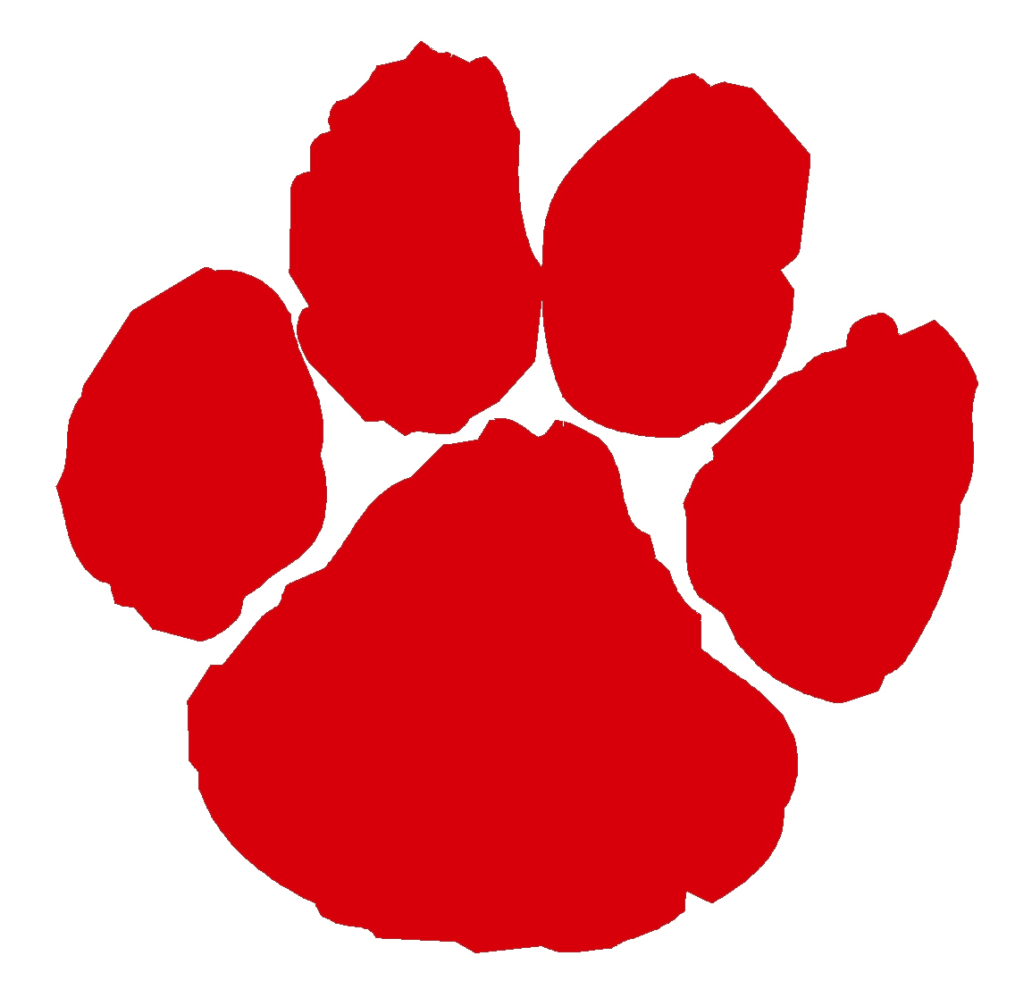 Paw print red. Clip art n free