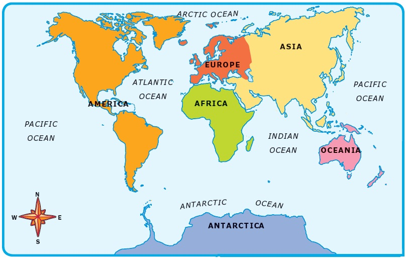 World Map 7 Continents 5 Oceans free image