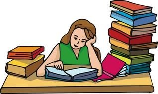 girl does homework as a graphic illustration