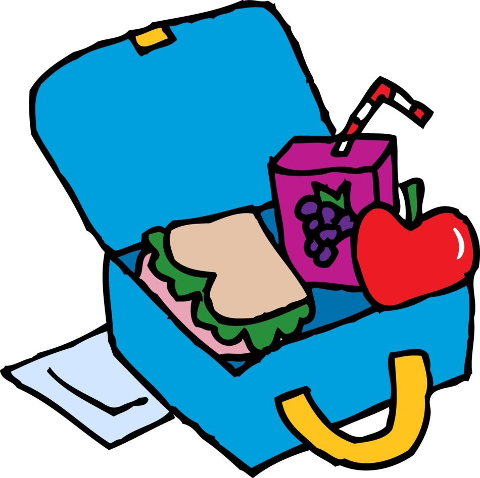 blue Lunch Box Clip Art with apple sandwich juice