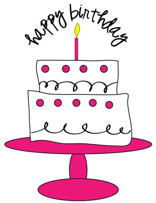 Colorful Birthday cake on the pink plate clipart
