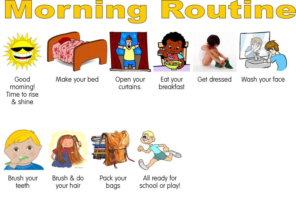 Teen Morning Routine Clipart